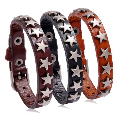 Moda punky Retro Aleación en forma de estrella Pulsera de cuero Accesorios Joyería nihaojewelry NHPK239286's discount tags