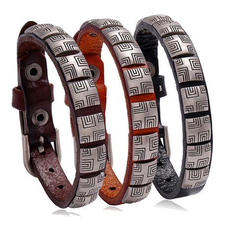 Vente chaude punk mode rétro simple et polyvalent réglable bijoux pour hommes bracelet en cuir de vache nihaojewelry NHPK239288's discount tags