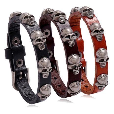 Accessoires de vente chaude nouveau style punk crâne en cuir tendance hommes et femmes bracelet de bijoux étudiant NHPK239292's discount tags