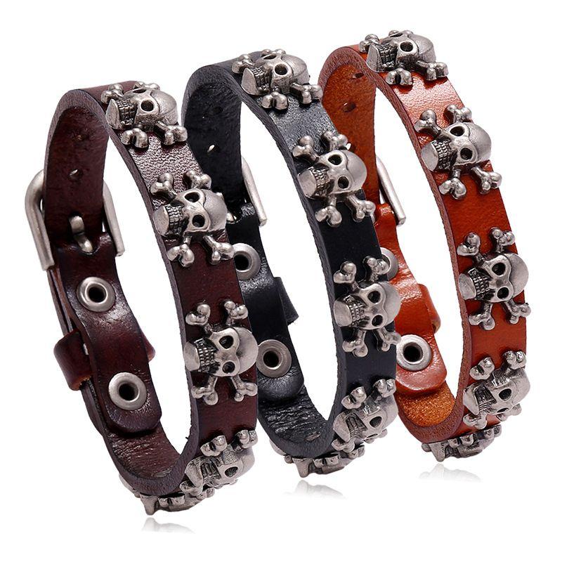 hot-selling skull punk style simple adjustable men's cowhide bracelet wholesale nihaojewelry NHPK239293
