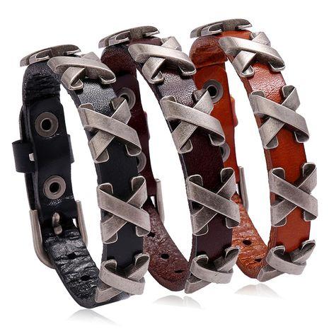 Punkbar dance jewelry X nail men's leather bracelet adjustable retro jewelry nihaojewelry NHPK239295's discount tags