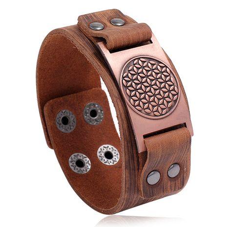 Hot selling geometric energy pattern men's cowhide bracelet retro alloy new bracelet wholesale nihaojewelry NHPK239296's discount tags