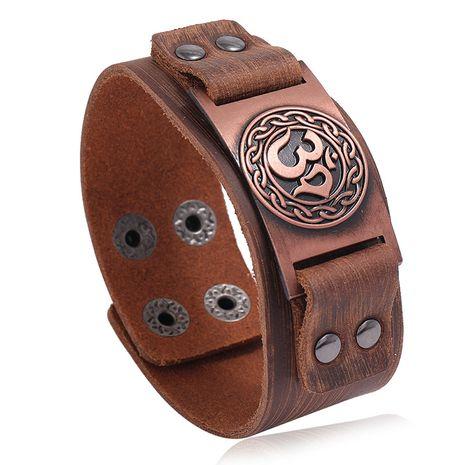 Punk retro fashion trend men's leather bracelet hot sale nihaojewelry NHPK239299's discount tags