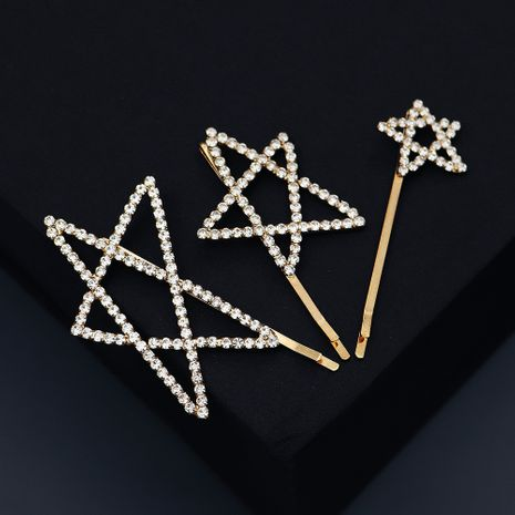 Creative hand-painted five-pointed star cartoon hairpin rhinestone side clip wholesale nihaojewelry NHHS239304's discount tags