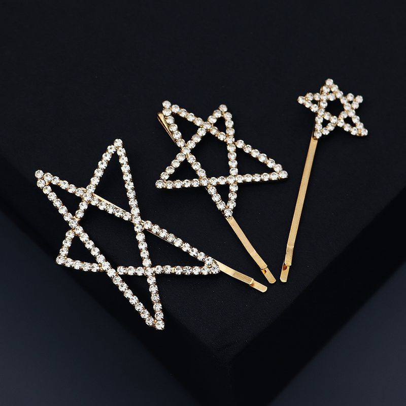 Creative peint  la main toile  cinq branches dessin anim pingle  cheveux strass clip latral en gros nihaojewelry NHHS239304