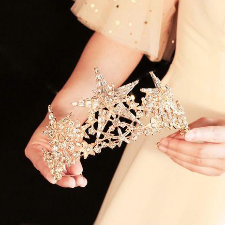 Novia coreana tocado de boda brillante estrella de cinco puntas corona de diamantes de imitación al por mayor nihaojewelry NHHS239305's discount tags