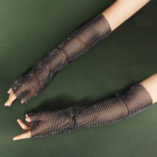 flashing diamond sleeves grid rhinestone long-sleeved gloves wholesale nihaojewelry NHHS239308's discount tags