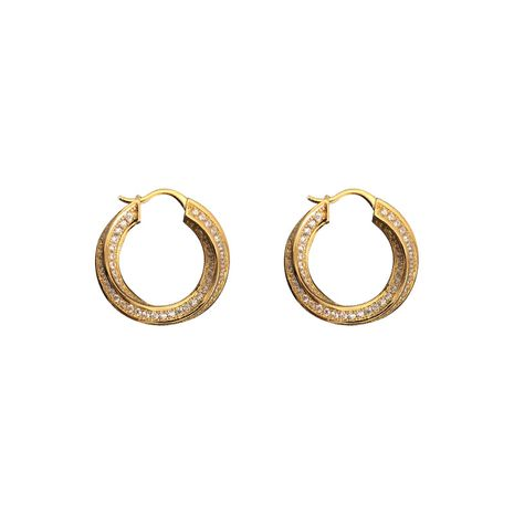 New brass crystal twisted metal circle  full diamond earrings wholesale nihaojewelry NHNT239311's discount tags