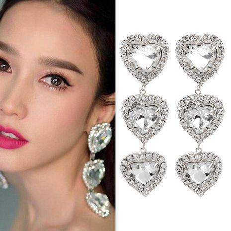 new flashing diamond love gemstone heart pendant earrings  wholesale nihaojewelry NHNT239320's discount tags
