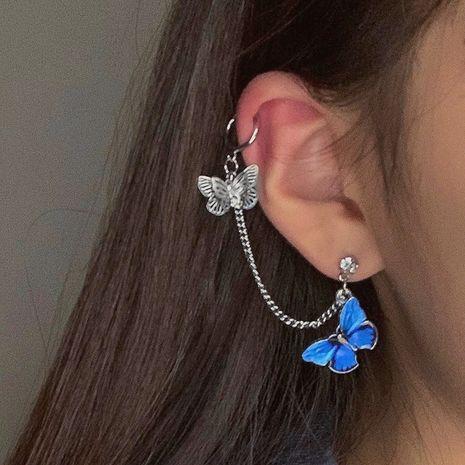 925 silver needle blue butterfly ear bone clip  wholesale nihaojewelry NHNT239323's discount tags