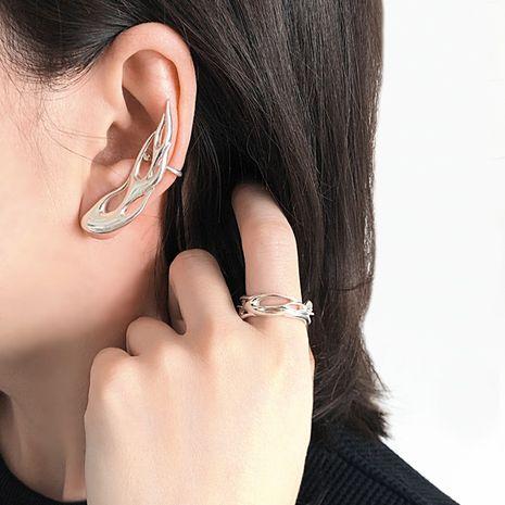 Korean style metal hollow flame one-piece earrings ear bone clip earrings wholesale nihaojewelry NHNT239324's discount tags