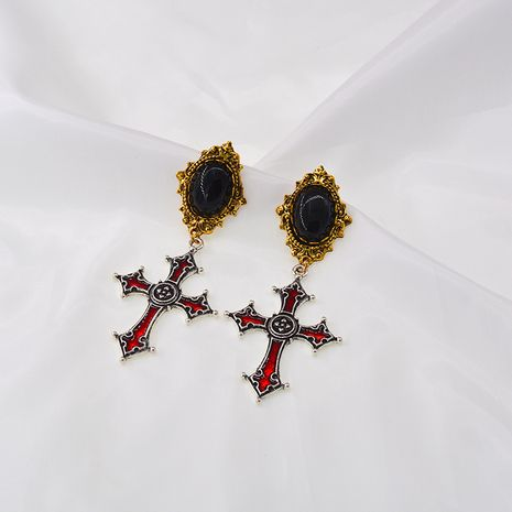 Baroque retro cold style cross long piece tassel chain earrings wholesale nihaojewelry NHNT239330's discount tags