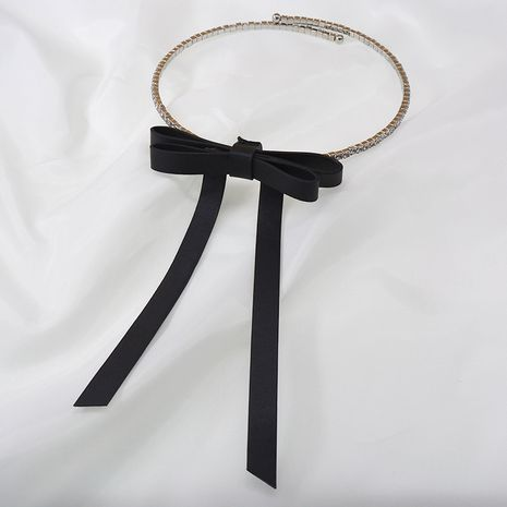 Korean flash diamond choker collar flannel three-dimensional bow necklace collar simple necklace wholesale nihaojewelry NHNT239331's discount tags