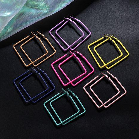 Rubber feel paint color big hoop square earrings Korean hoop fashion earrings wholesale nihaojewelry NHIM239332's discount tags