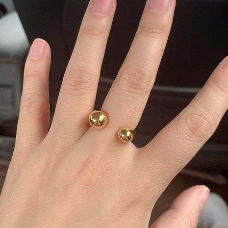 18K gold titanium steel color retention ring allergic drop geometric ring wholesale nihaojewelry NHIM239347's discount tags