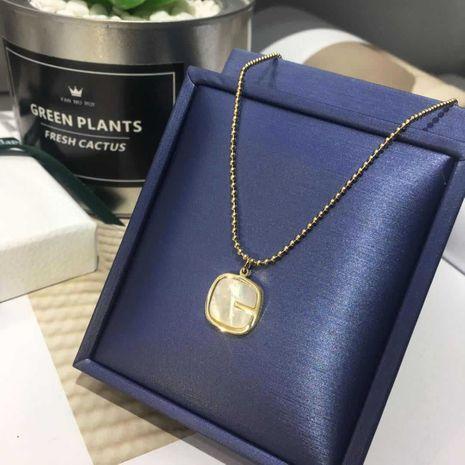 Tendencia de la moda Cadena de clavícula Cuentas de vidrio Collar de conchas cuadradas Color Joyas de oro al por mayor nihaojewelry NHIM239356's discount tags