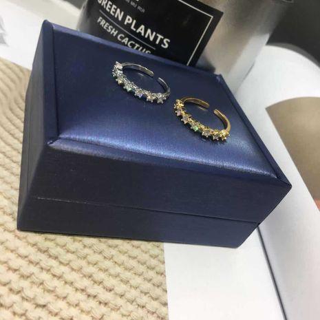 simple retro titanium steel diamond-studded open tail ring wholesale nihaojewelry NHIM239358's discount tags