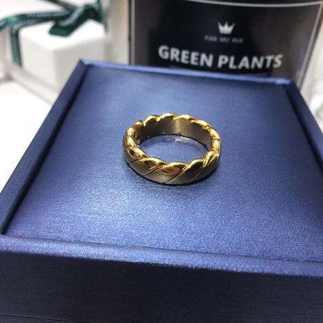 New jewelry 18k gold-plated titanium steel retro ring wholesale nihaojewelry NHIM239362's discount tags