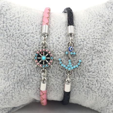 New ship anchor ship rudder leather rope couple bracelet jewelry wholesale nihaojewelry NHHM239388's discount tags