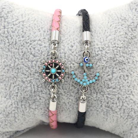 Nouveau navire ancre navire gouvernail en cuir corde couple bracelet bijoux en gros nihaojewelry NHHM239388's discount tags