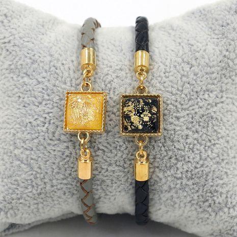 Boucle de homard simple corde en cuir carré perlé 4mm couple corde à main accessoires étudiant bracelet NHHM239390's discount tags
