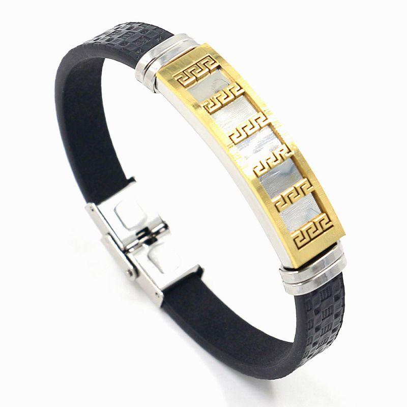 the Great Wall pattern titanium steel bracelet fashion jewelry stainless steel bracelet wholesale nihaojewelry NHHM239392