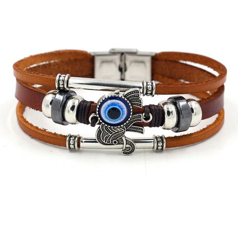 Bracelet bohème en cuir de vachette marron oeil bleu éléphant ensoleillé bracelet multicouche perlé NHHM239393's discount tags