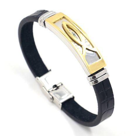 bijoux fantaisie bracelet en cuir en acier inoxydable bicolore en gros nihaojewelry NHHM239394's discount tags