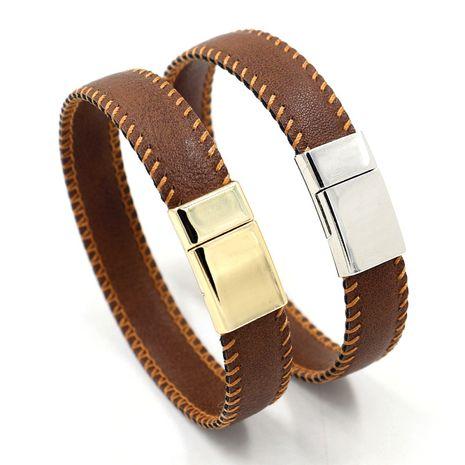 mode marron microfibre couture bilatérale cuir bracelet simple en gros nihaojewelry NHHM239395's discount tags