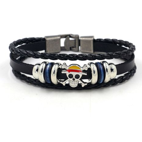 Student jewelry men and women fashion pirate skull multi-layer beaded bracelet wholesale nihaojewelry NHHM239396's discount tags