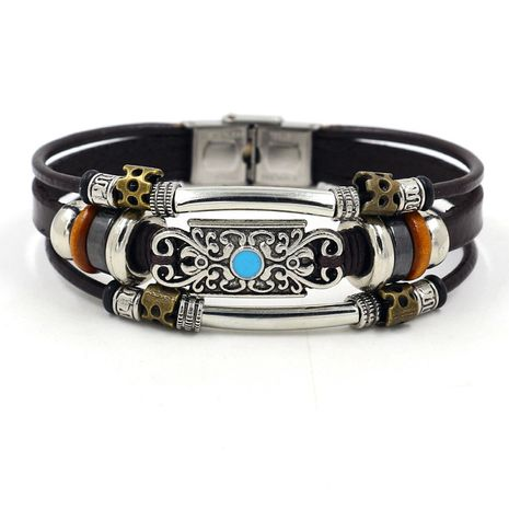 Bijoux de mode rétro style bohème perlé bracelet en cuir multicouche en gros nihaojewelry NHHM239397's discount tags