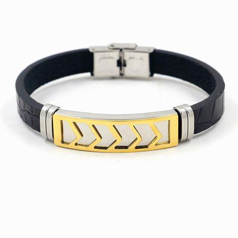 Bracelet en acier au titane en acier inoxydable bicolore Bracelet en cuir de mode polyvalent en gros nihaojewelry NHHM239400's discount tags