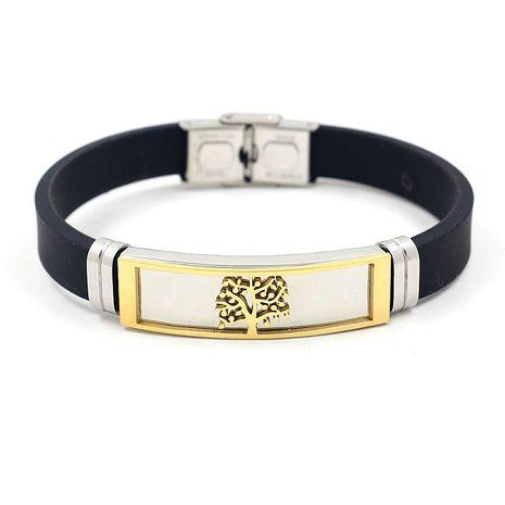 acier au titane silicone bicolore en acier inoxydable arbre de vie bracelet en gros nihaojewelry NHHM239404's discount tags