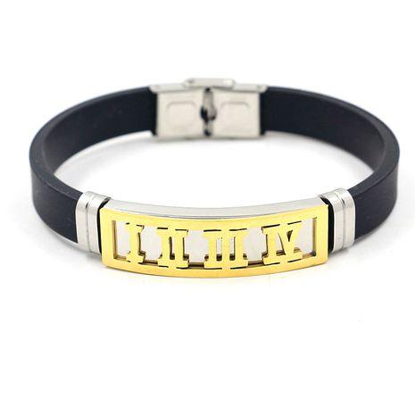 Bracelet en silicone en acier inoxydable de mode chiffres en acier au titane bracelet en silicone en gros nihaojewelry NHHM239407's discount tags