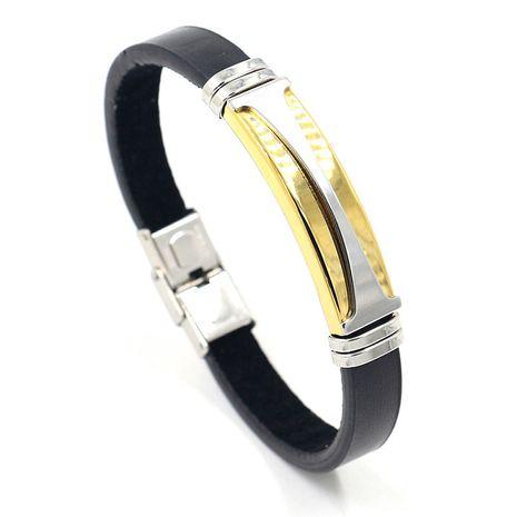 Nouveau bracelet en cuir PU en acier inoxydable bicolore en acier au titane en gros nihaojewelry NHHM239408's discount tags