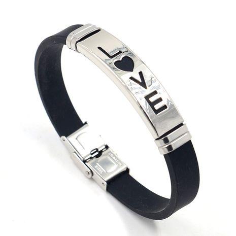 Bracelet de couple créatif en acier inoxydable LOVE en silicone de mode en gros nihaojewelry NHHM239409's discount tags