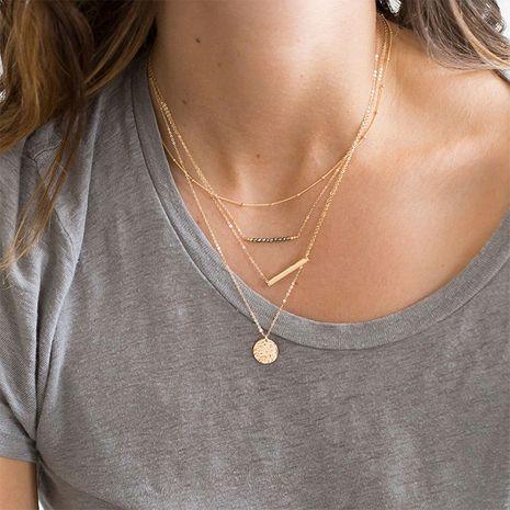 Collier court plaqué or en acier inoxydable 316L pour femmes en couches de mode en gros nihaojewelry NHTF239416's discount tags