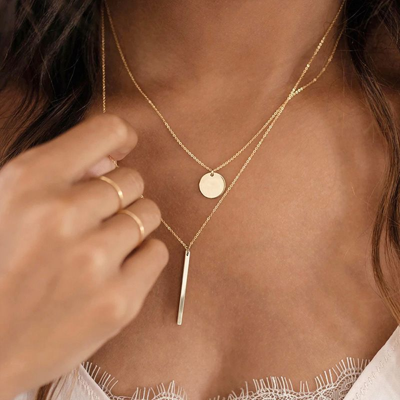 New double layered pendant simple 316L stainless steel women's necklace jewelry nihaojewelry NHTF239418