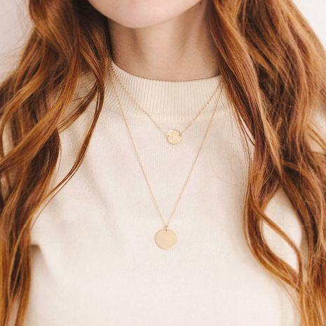 Pendentif rond plaqué or 14K de mode avec gravure collier double couche 316L empilé pour femmes collier en acier inoxydable NHTF239419's discount tags