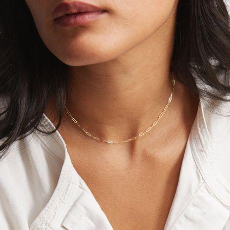 Mode courte chaîne pour femmes en acier au titane 316L en acier au titane 14K plaqué or collier chaîne de la clavicule nihaojewelry NHTF239424's discount tags