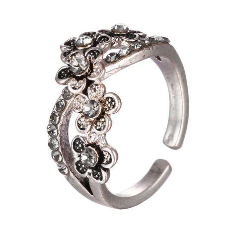 Nouveaux bijoux en alliage de mode plein diamant rétro fleur bague ouverte pour les femmes en gros nihaojewelry NHTF239446's discount tags