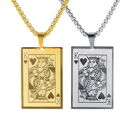 Venta caliente Classic Poker K Hombres Colgante de acero de titanio Collar Moda Solitario Joyería al por mayor nihaojewelry NHOP239448's discount tags