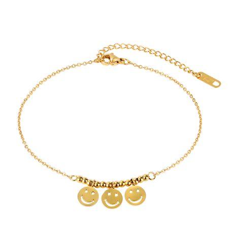 Venta caliente nuevo disco de moda coreana smiley lady pulsera de tobillera de acero de titanio nihaojewelry NHOP239454's discount tags