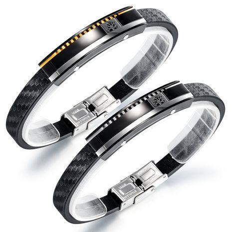 bracelet en cuir en acier titane pour hommes populaires vente chaude bracelet de vie bracelet bijoux en gros nihaojewelry NHOP239459's discount tags