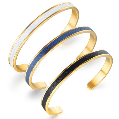 vente chaude classique simple ouverture en forme de C en acier titane bracelet amoureux bracelet en cuir en gros nihaojewelry NHOP239461's discount tags
