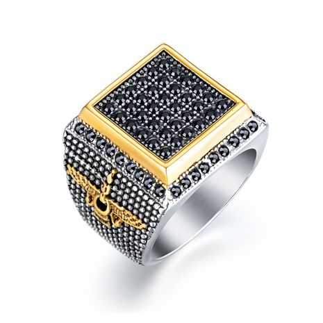 new  retro stainless steel square diamond ring jewelry wholesale nihaojewelry NHOP239466's discount tags