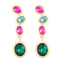 Mode couleur diamant srie multicouche alliage diamant ovale strass boucles d39oreilles gomtriques en gros nihaojewelry NHJE239467