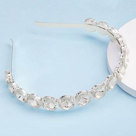 exaggerated alloy diamond-studded round glass diamond hair band trendy headband wholesale nihaojewelry NHJE239470's discount tags