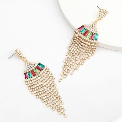 Fashion colored series alloy diamond-studded rhinestone long tassel earrings wholesale nihaojewelry NHJE239471's discount tags