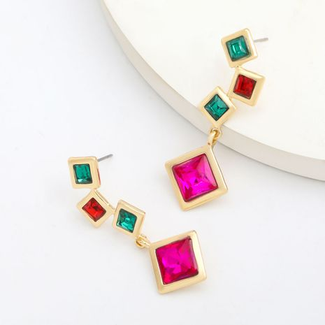 Fashion colored series multi-layer alloy diamond-studded square rhinestone geometric earrings wholesale nihaojewelry NHJE239473's discount tags